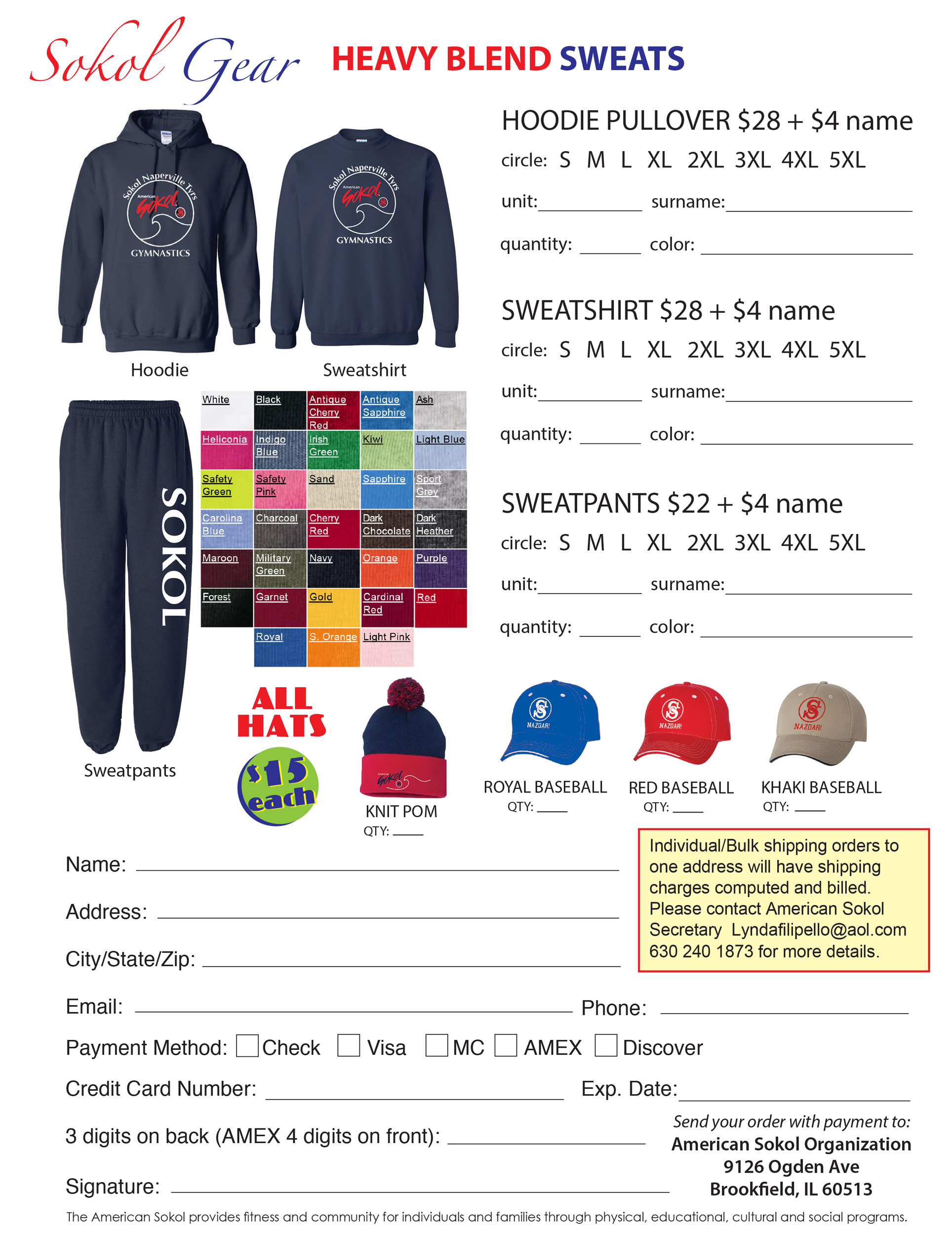 Sokol Gymnastics Hats and Sweatshirts